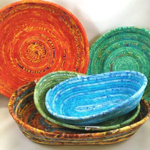 44fd3004f8c These vibrant, brightly colored baskets by Annie Chittenden are made using  strips of hand-cut, hand-dyed or hand-painted fabrics. This CT-based artist  folds ...